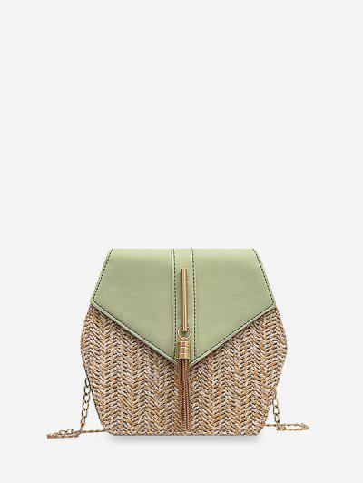 Geometric Tassel Chain Crossbody Bag - Light Green