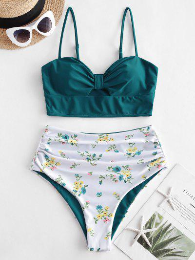 ZAFUL Ruched High Waisted Ditsy Floral Tankini Swimwear - Peacock Blue S