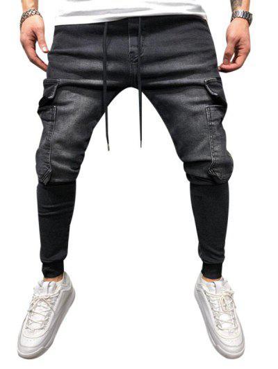 Solid Color Pocket Decorated Jogger Jeans - Black L