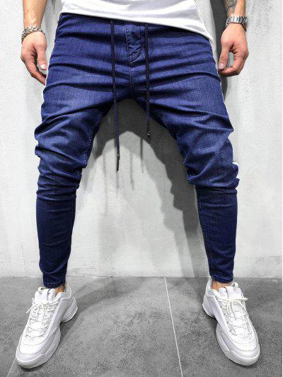 Color Spliced Decorated Drawstring Casual Pants - Denim Dark Blue L