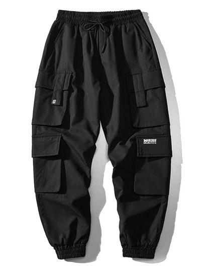 Multi Flap Pockets Drawstring Cargo Jogger Pants - Black M