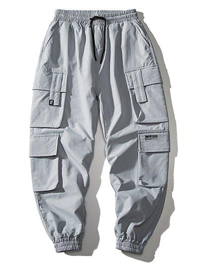 Multi Flap Pockets Drawstring Cargo Jogger Pants - Blue Gray M