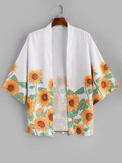 Sunflower Print Beach Vacation Kimono Cardigan - White 3xl