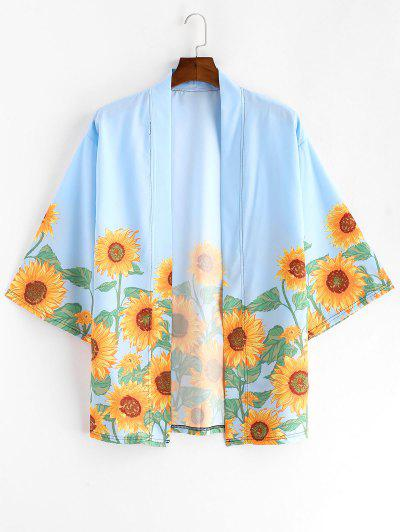 Sunflower Print Beach Vacation Kimono Cardigan - Sky Blue M