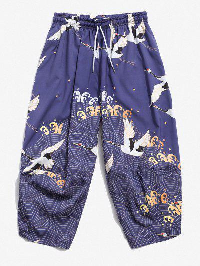 Flying Crane Sea Waves Print Cropped Pants - Light Slate Blue M