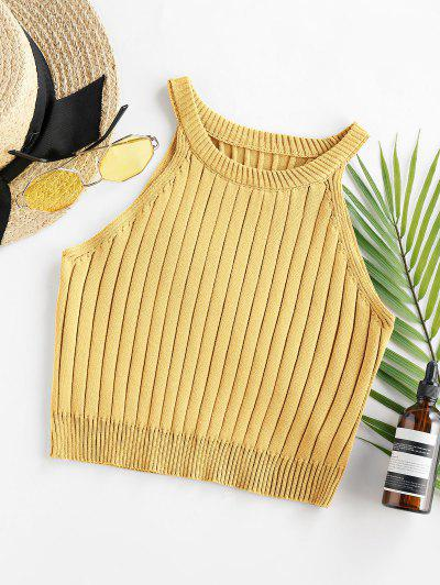 ZAFUL Cutaway Ribbed Crop Tank Top - Goldenrod M