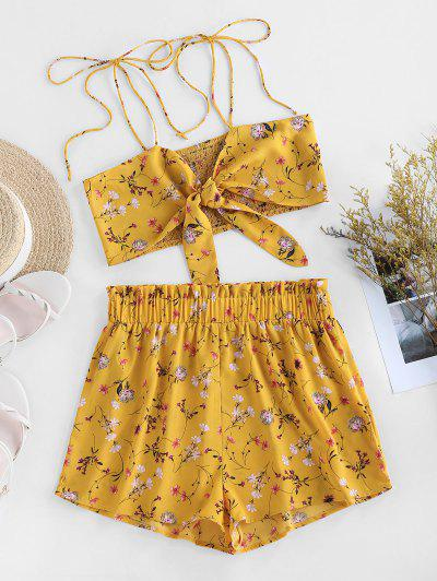 ZAFUL Ditsy Print Tie Smocked Co Ord Set - Yellow S
