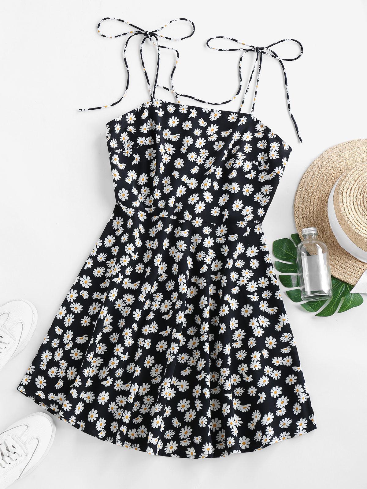 ZAFUL Ditsy Print Tie Shoulder Backless Mini Dress