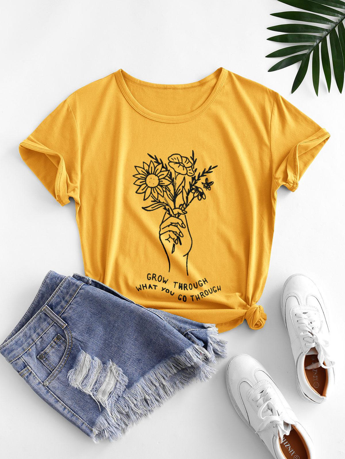 Holding Flower Sketch Graphic Short Sleeve Tee