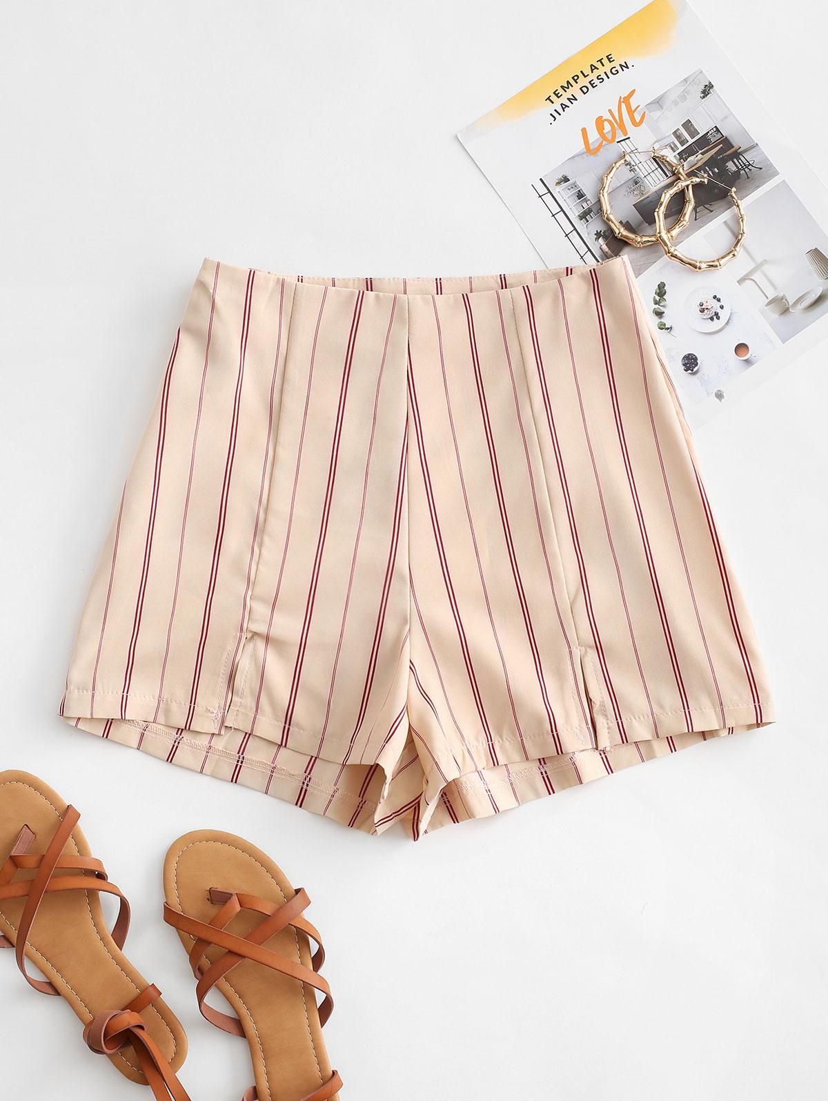 Slit Hem Striped Shorts