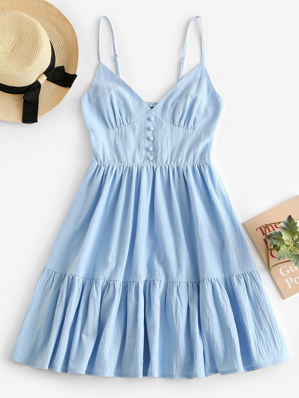 ZAFUL Button Embellished Smocked Flounce Hem Cami Dress