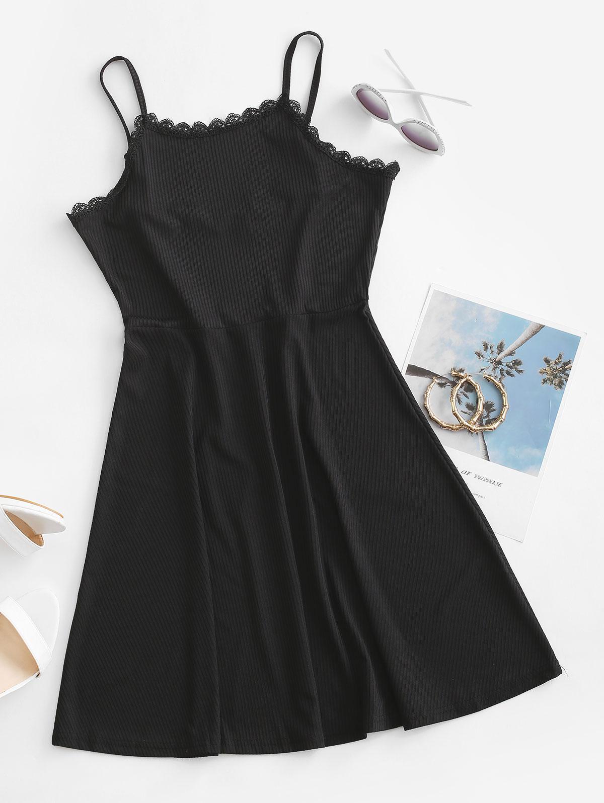 Ribbed Lace Trim Skater Dress