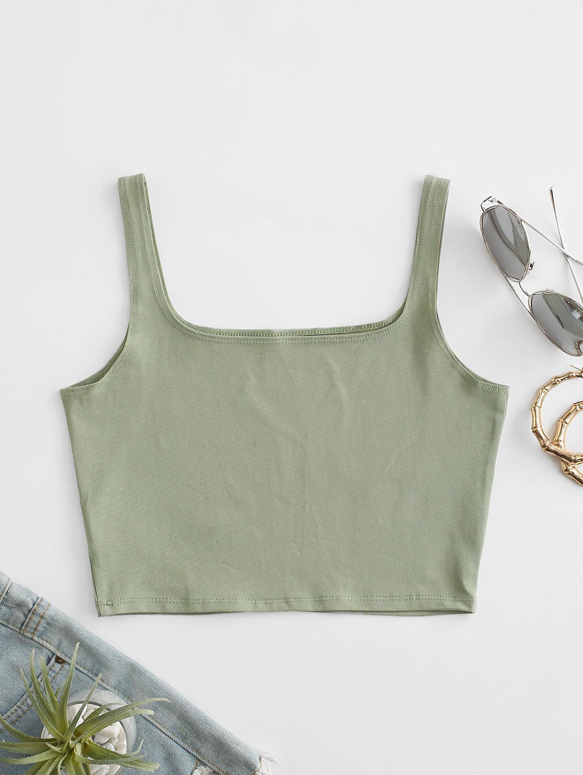 Square Collar Crop Tank Top