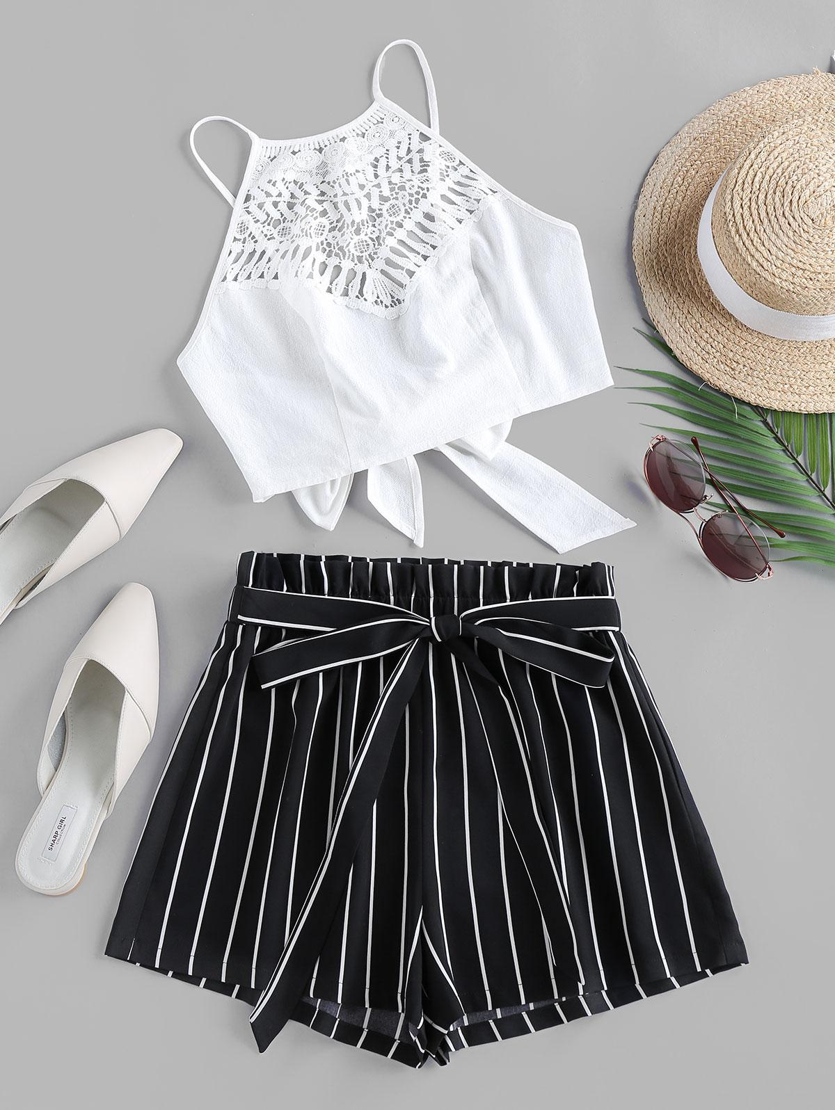 ZAFUL Guipure Insert Striped Paperbag Waist Shorts Set