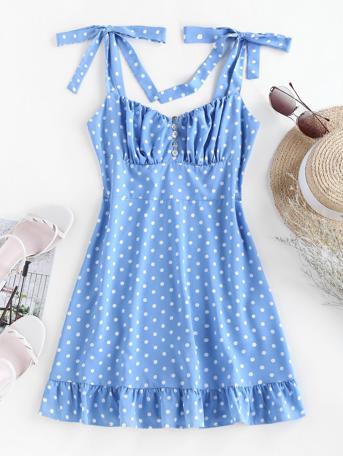 ZAFUL Polka Dot Flounce Mini Dress