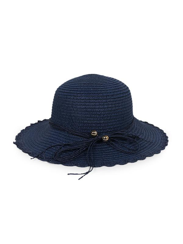 Bowknot Scalloped Straw Sun Hat