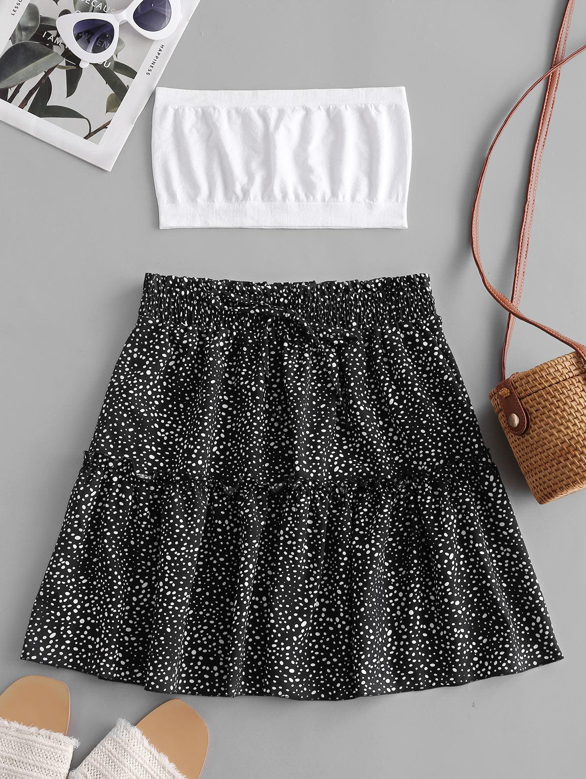 Plain Bandeau Top And Dalmatian Dot Skirt Set thumbnail