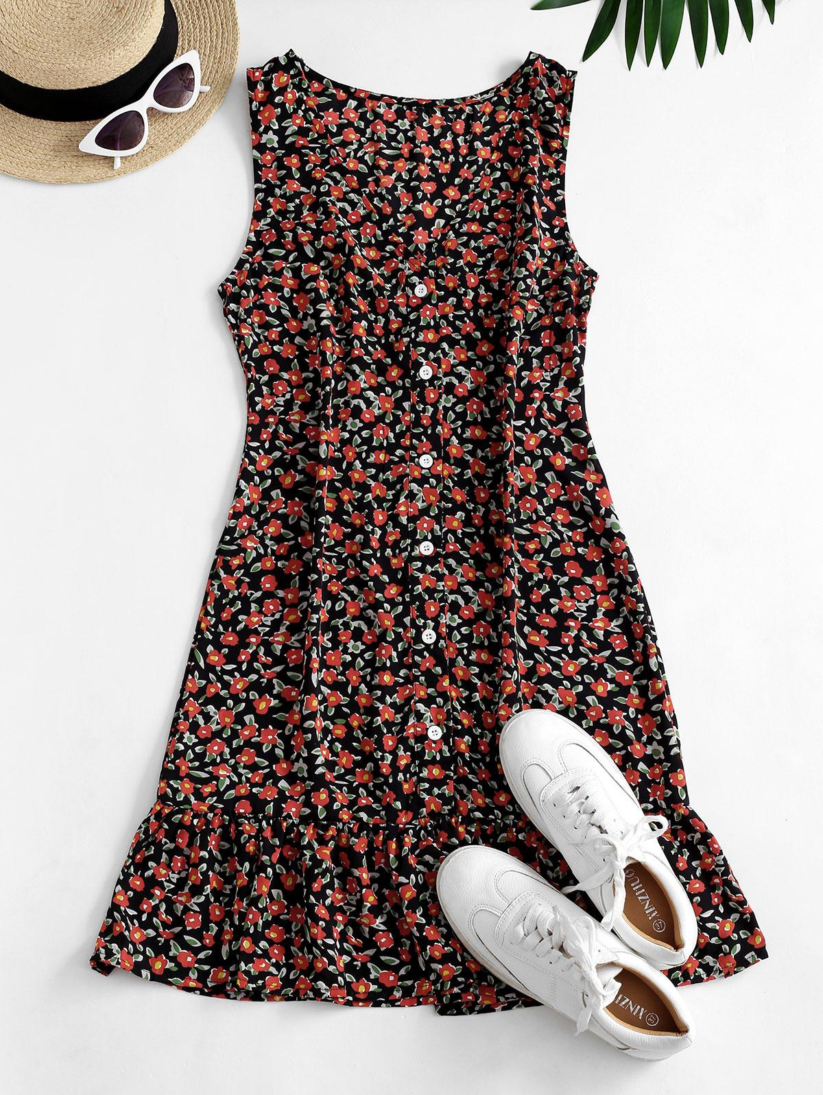 Ditsy Floral Plunging Flounce Button Front Dress