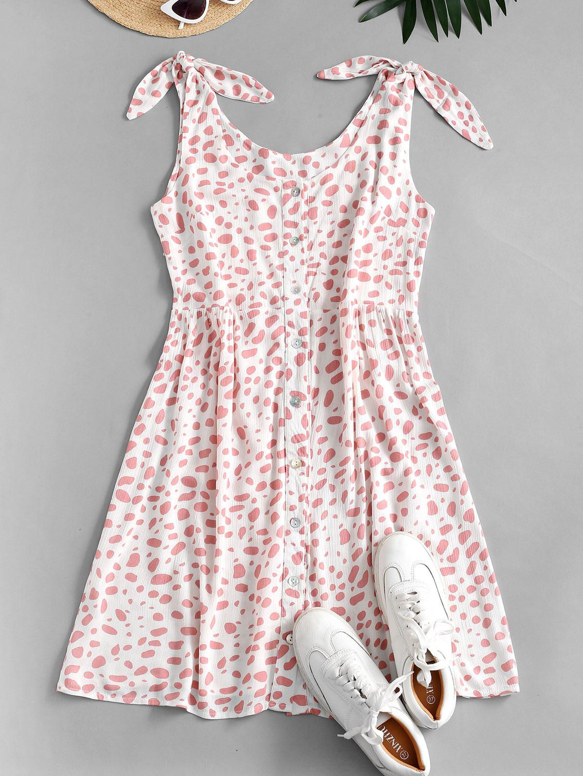 Dalmatian Print Knot Shoulder Button Front Dress