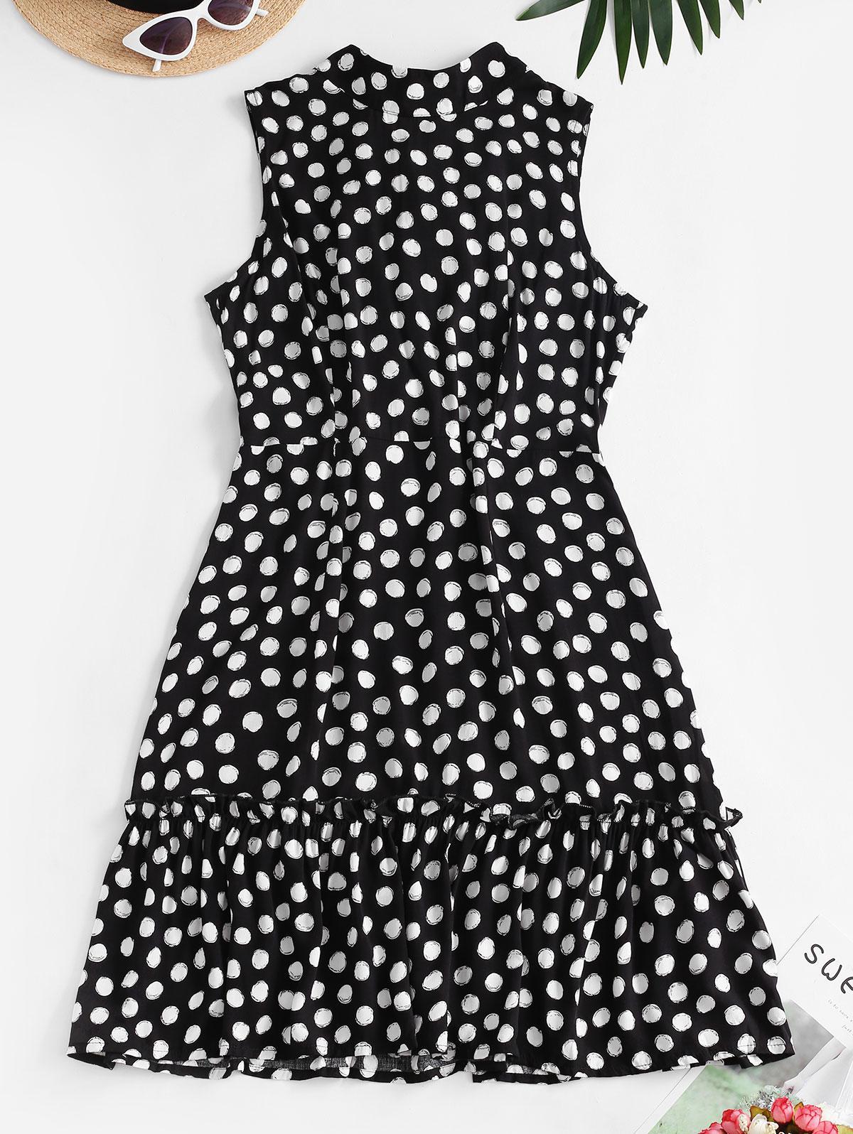 Polka Dot Flounce Knotted Cutout Back Dress