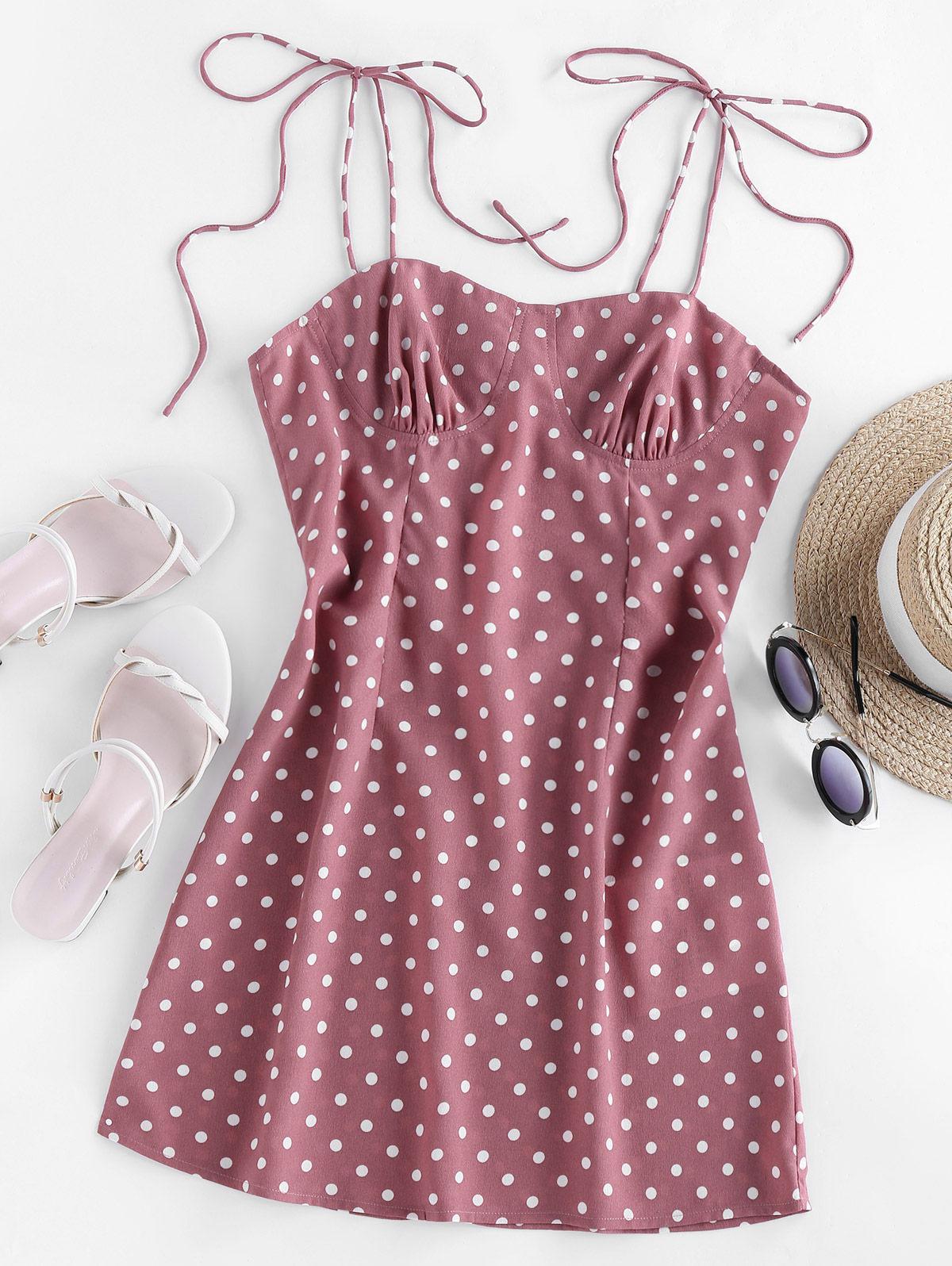 ZAFUL Polka Dot Tie Shoulder Cupped Dress