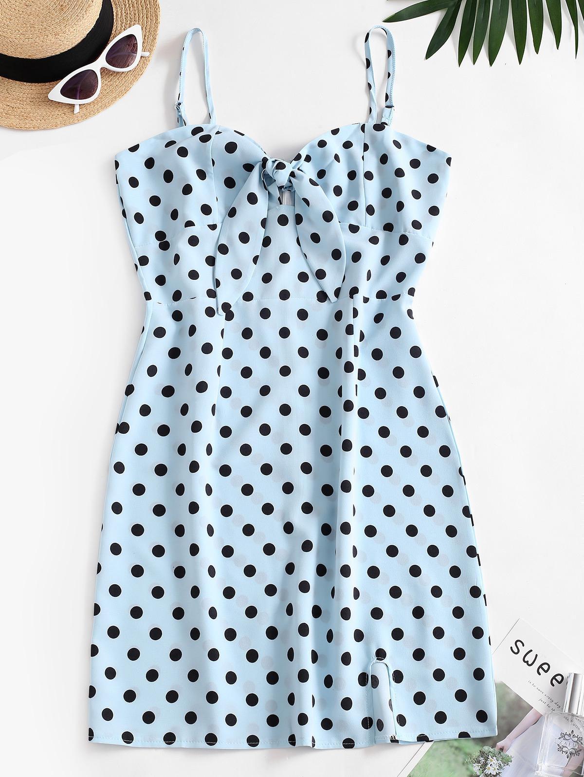 Polka Dot Cutout Knot Cami Slit Dress