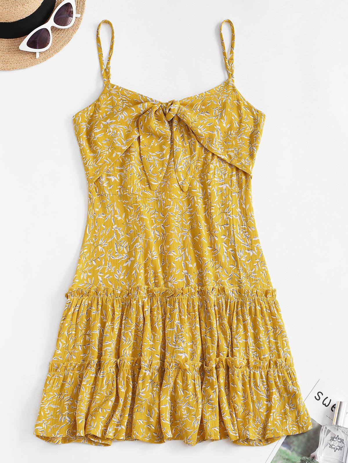 Ditsy Leaf Knotted Cami Flounce Dress