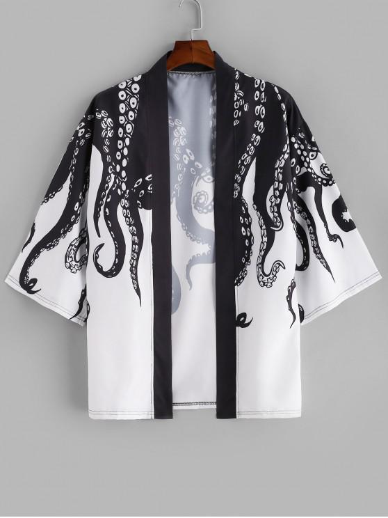 best Open Front Octopus Print Beach Kimono Cardigan - BLACK S