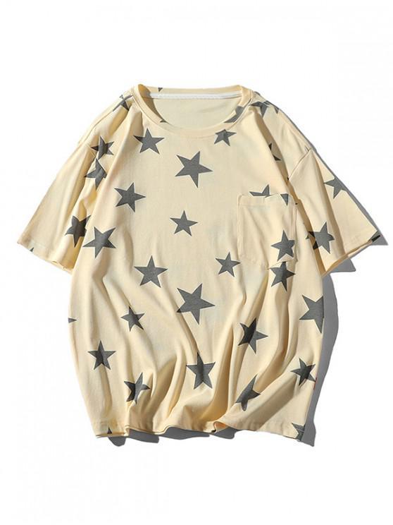 Star Print Casual Short Sleeves T-shirt - بلانشيد اللوز L