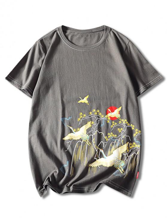 Tierkatzendruck T-Shirt mit Kurzen Ärmeln - Schlachtschiff Grau XL