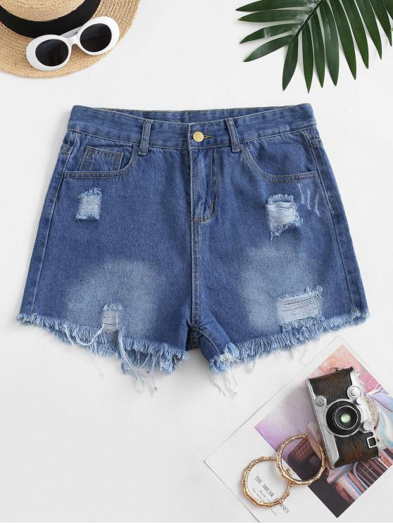 lady Frayed Hem Ripped Pocket Denim Shorts - DEEP BLUE L