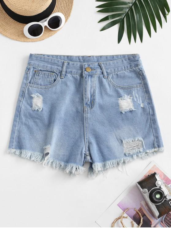 shop Frayed Hem Ripped Pocket Denim Shorts - LIGHT BLUE L
