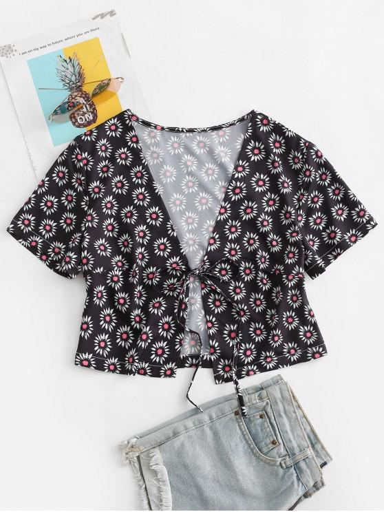 women's Ditsy Print Tie Front Crop Top - BLACK S