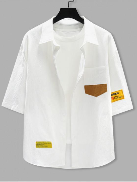 Buchstabenmuster mit Kurzen Ärmeln Tasche Hemd - Weiß 2XL