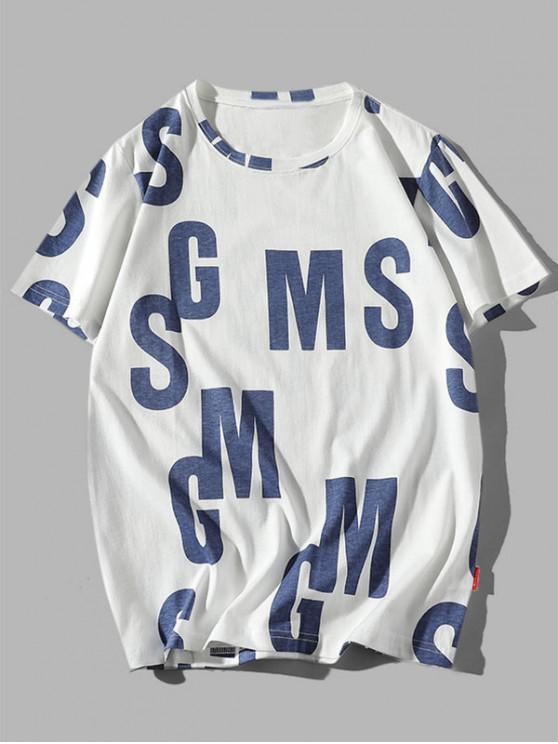 T-shirt Décontracté Graphique Lettre Imprimée en Coton - Cadetblue XS
