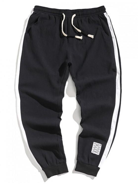 Pantalones Jogger de Cintura Elástica con Empalme de Colores - Negro XS