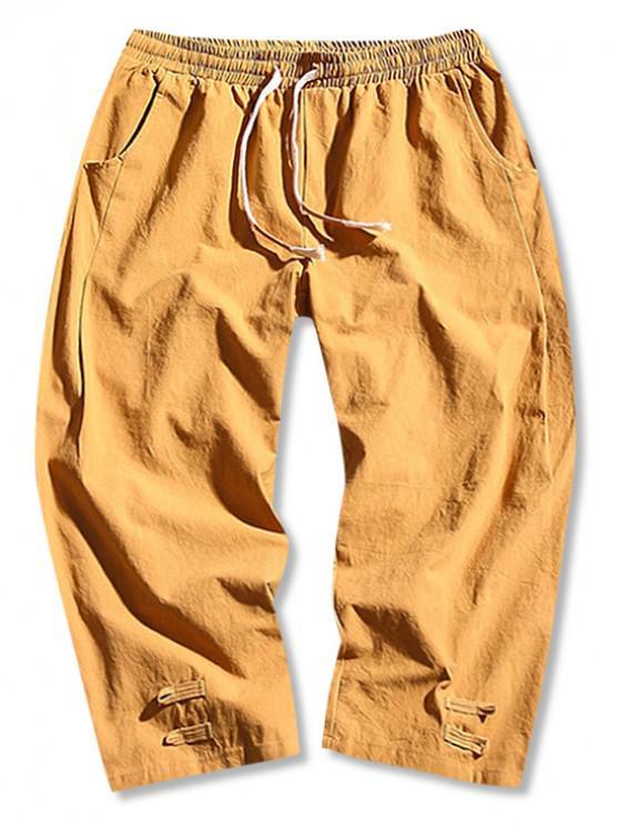 Calças de Cor Sólida com Cordão Sólido - Marrom Dourado XL