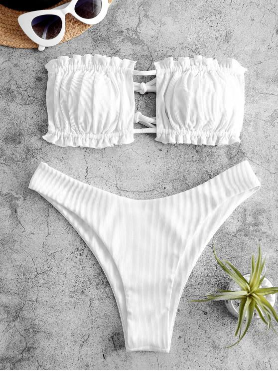 women's ZAFUL Ribbed Tie Cutout Bandeau Bikini Swimsuit - WHITE S