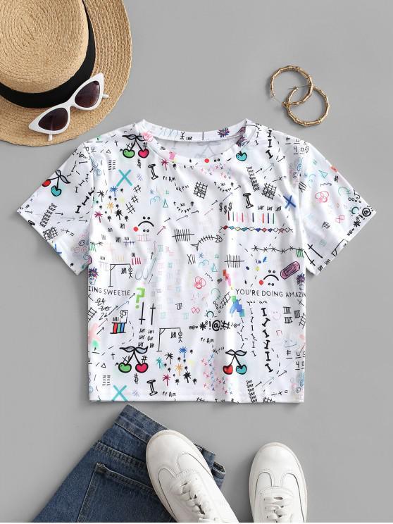 buy Cherry Graffiti Short Sleeve T-shirt - WHITE S