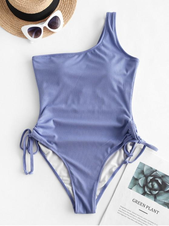 shop ZAFUL Ribbed One Shoulder Cinched One-piece Swimsuit - SILK BLUE XL