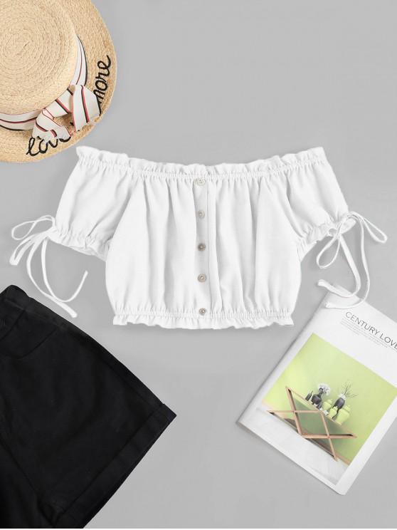 ZAFUL Off Shoulder Ruffle Mock Button Crop Blouse - أبيض XL