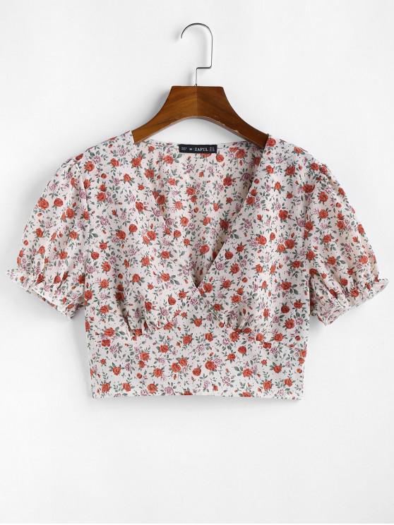 ZAFUL Ditsy Floral Smocked Hem Plunge Blouse - أبيض XL