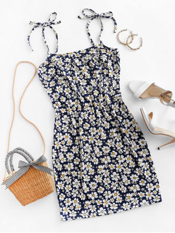 hot Tie Floral Bodycon Dress - DEEP BLUE S