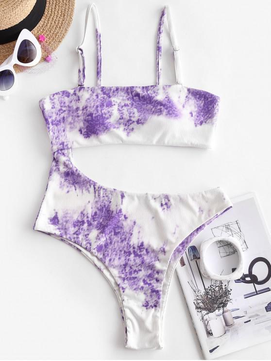 women ZAFUL Delayed Romance Cutout One-piece Swimsuit - LIGHT PURPLE XL