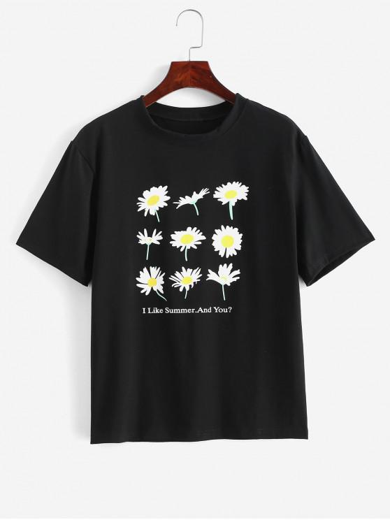 buy Flower Graphic Short Sleeve Boyfriend Tee - BLACK ONE SIZE