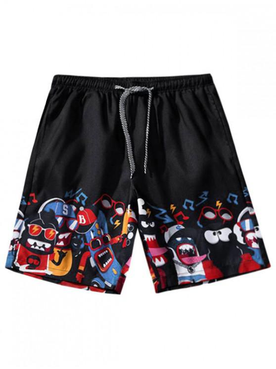 womens Cartoon Graphic Print Drawstring Shorts - BLACK M