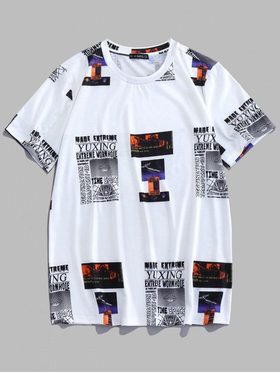 chic ZAFUL Letter Graphic Print Round Neck T-shirt - WHITE 2XL