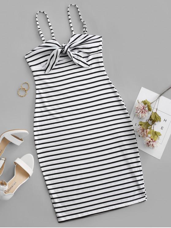 shops Striped Tie Front Cutout Bodycon Dress - WHITE S