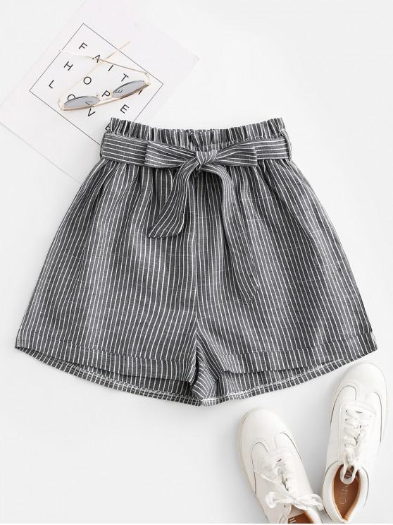 fashion Vertical Striped Cuffed Paperbag Shorts - GRAY L