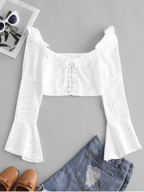 Broderie Anglaise Lace Up Ruffle Milkmaid Crop Blouse - أبيض L